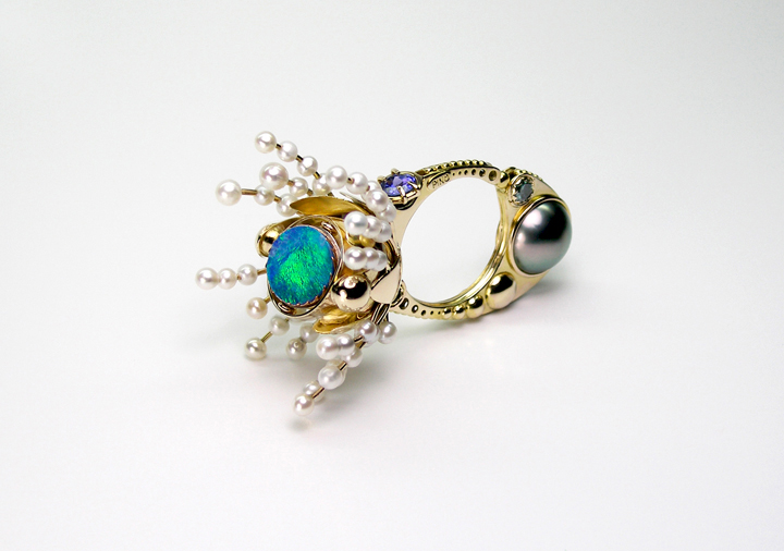 20 – Cereus. 14k gold, opal, blue diamonds, Tahitian pearls, turquoise, tanzanite, freshwater pearls. © Claudio Pino